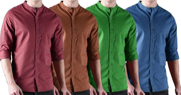 Combo of 4 New Stylish Rust Solid Casual Shirts