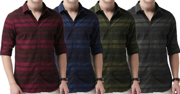 Combo of 4 New Stylish Solid Slim Fit Striped Casual Shirts