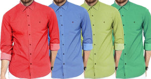 Combo of 4 New Fashion Designer High Quality Solid Regular Fit Shirts