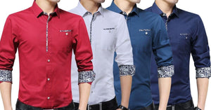 Combo of 4 Fashionable Casual Long Sleeve Pocket Slim Fit Shirts for Men
