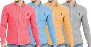Combo of 4 New fashionable four color Textured Regular Fit Casual Shirts for Men