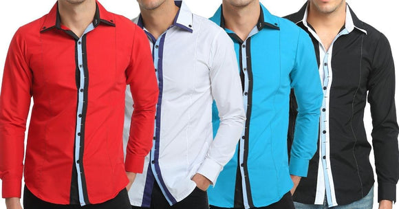 Combo of 4 New Fashion Long Sleeve Slim personality Color block Casual Men's Shirts