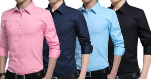 Combo of 4 New Branded Long Sleeve Summer Style Men's Slim Fit Cotton Shirts