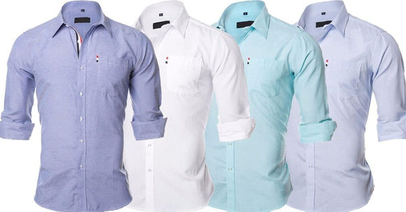 Combo of 4 New Fashion Solid Color Design Cotton Casual Shirts