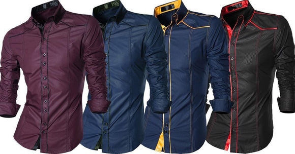 Combo of 4 New Fashionable Casual Long Sleeve Slim Fit Make Shine Male Shirts