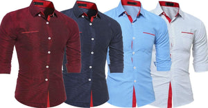Combo of 4 New Branded Slim Fit Long Sleeve Polka Dot Casual Men's Shirts
