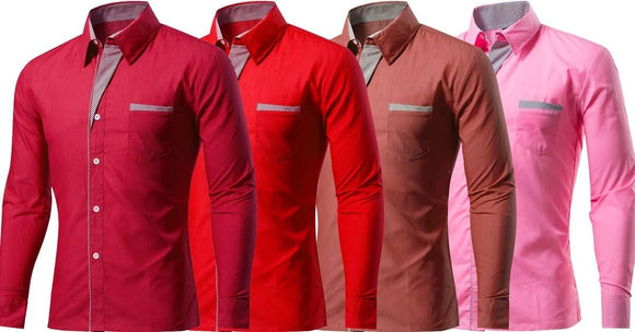 Combo of 4 New Branded Fashionable Unique Collar Design Men's Long Sleeve Slim Fit Shirts