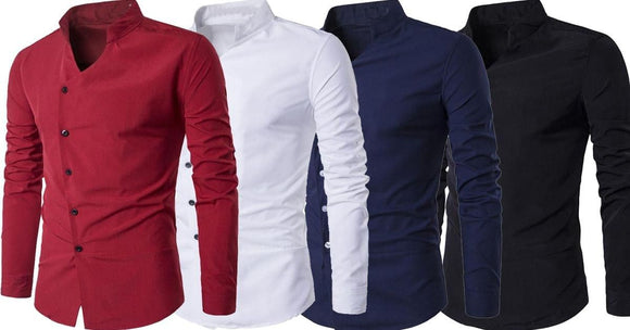 Combo of 4 New Fashionable Cotton Stand Collar Party wear Slim Fit Long-Sleeve shirts for men