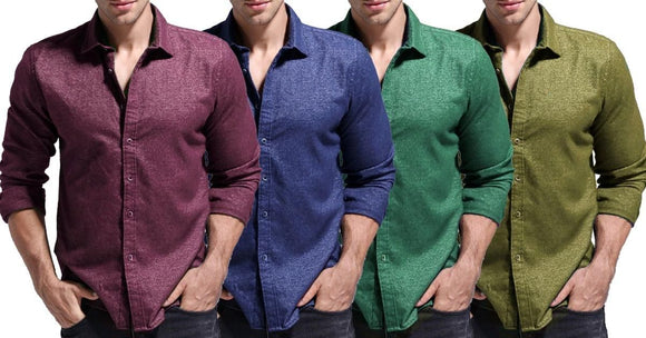 Combo of 4 New Fashionable Casual Long Sleeve Button Design Men's Solid Shirts