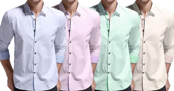 Combo of 4 New Fashionable Casual Solid Color Stylish Men's Shirts