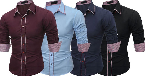 Combo of 4 New Branded Men's Long Sleeve Slim Fit Casual Shirts