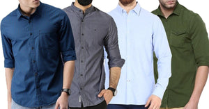 Combo of 4 New Branded Men's Long Sleeve Solid Color Striped Regular Fit Casual Shirts