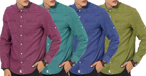 Combo of 4 New Branded Solid Textured Regular Fit Casual Shirts