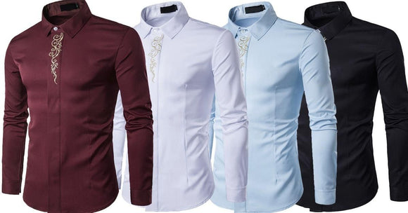 Combo of 4 New Luxury Branded Long Sleeve High Quality Print Slim Fit Shirts for Men