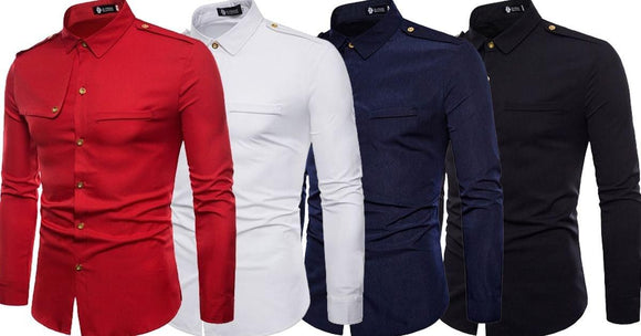 Combo of 4 New Fashionable Stylish Shoulder Board Plain Men's Shirts