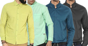 Combo of 4 New Fashionable Solid Slim Fit Unique Color Casual Shirts
