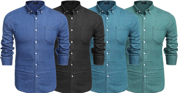 Combo of 4 New High quality Long Sleeve Button Down Fashionable Shirts for Men