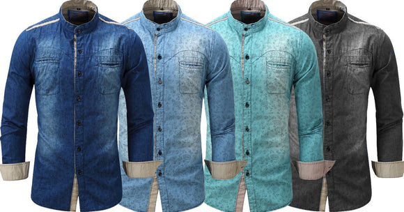 Combo of 4 Fashionable Spring Casual Men's Classic Vintage Slim Fit Long Sleeve Fashionable Shirts