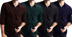 Combo of 4 Top New Fashion Long Sleeve  Casual Cotton high quality shirts  for Men