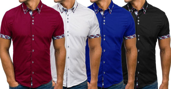 Combo of 4 New Tops Simple Short Sleeves Solid Color Double Collar Men's Shirts