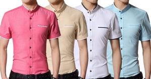 Combo of 4 New High Quality Cotton Short Sleeved Casual Slim Fit Stand Collar Solid Men's  Shirts
