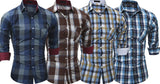 Combo of 4 New Fashionable Branded Classic Plaid Long Sleeve Men's Shirts