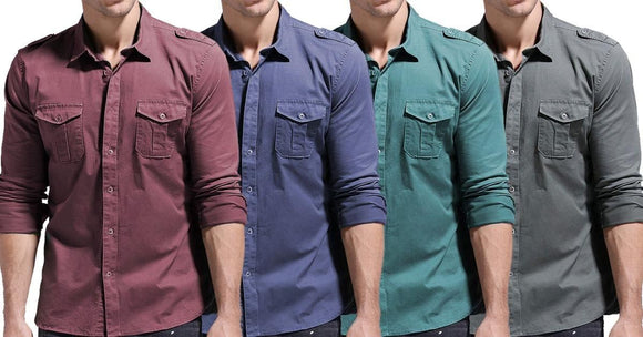 Combo of 4 New Fashionable Casual Long Sleeve 100% Cotton Multi Pocket Men's Shirts