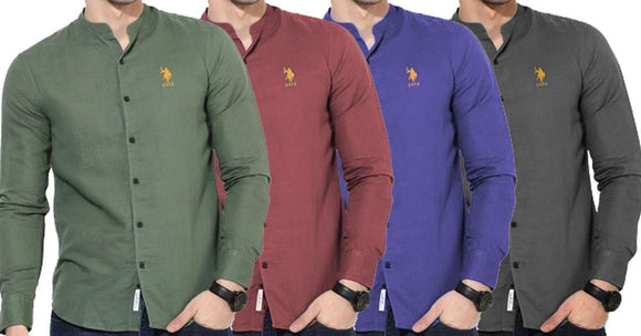 Combo of 4 New Fashionable Solid Regular Fit Casual Shirts for Men