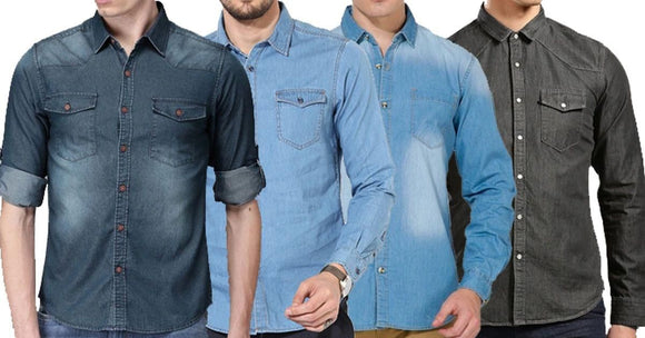 Combo of 4 New Fashionable 2 Blue and 2 Black Washed Multi Stylish Fashionable Shirts