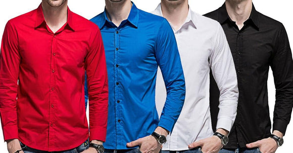 Combo of 4 New Fashionable Men'S Slim Fit Long Sleeves Casual Solid color Shirts