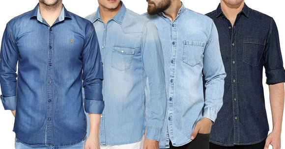 Combo of 4 New Fashionable 3 Blue and 1 Black Washed Multi Stylish Regular Fit Fashionable Shirts