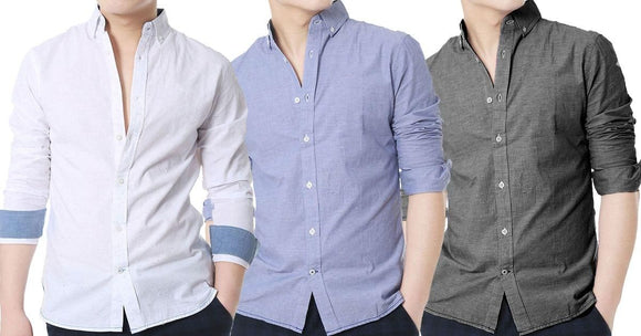 Combo of 3 New Fashionable Mens Slim Fitted Casual Plain Linen High Quality Shirts