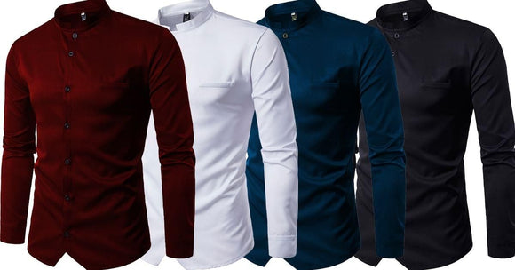 Combo of 4 New Mandarin Collar Pure Color Men's Full Sleeve Casual Slim fit Shirts