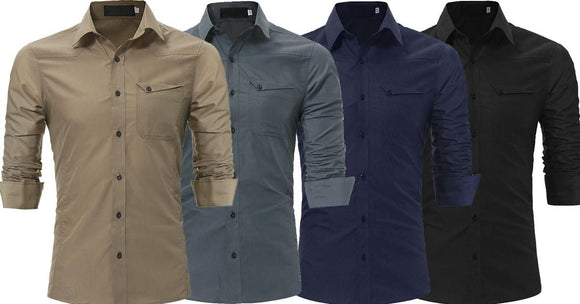 Combo of 4 New Fashion Solid Color Long Sleeve Slim Fit Pocket Design Men's Shirts