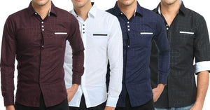Combo of 4 New Fashion Stylish Plaid Slim Fit Long Sleeve High Quality Casual Men's Shirts