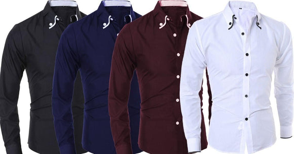 Combo of 4 New Plain Color Stylish Formal Casual Slim Fit Men's Shirts