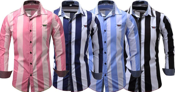 Combo of 4 New Shirt Long-Sleeves Tops Leisure Striped Men's Slim Fit Shirts