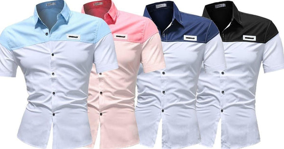 Combo of 4 New Fashionable Shoulder Design Half Sleeve Plain Men's Leisure Shirts