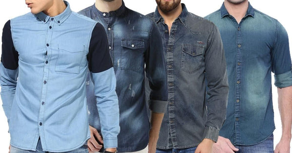 Combo of 4 New Fashionable Long-Sleeve Solid Slim Fit Fashionable Shirt