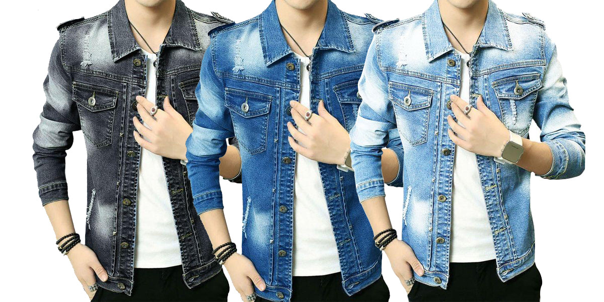 5cd3f0cdfb8 Pack of 3 New Double Pocket Stylish Denim Shirts for Men ...