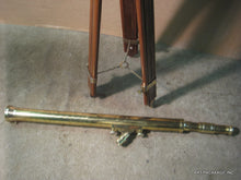 Telescope - Decorative large brass and wood floor standing telescope