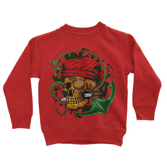 Skull & Anchor Pine Green Classic Kids Sweatshirt - Lone Space Ranger