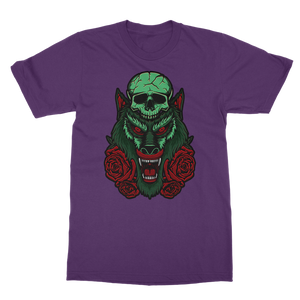 Skull, Wolf and Roses Classic Adult T-Shirt