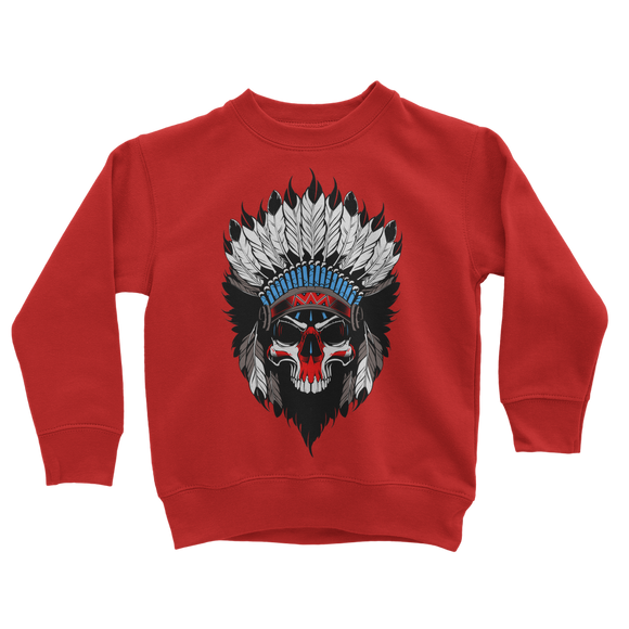 Skull Chief Retro 4 (Red) Classic Kids Sweatshirt - Lone Space Ranger