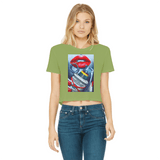 Money Bomb Classic Women's Cropped Raw Edge T-Shirt - Lone Space Ranger