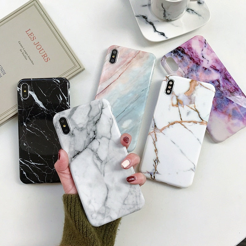 Marble Case on for iphone 7 XS MAX ,X ,XR, 6, 6S, 7, 8 Plus