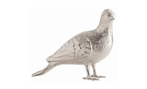 decorate in style with the jackie polished nickel pigeon sculpture