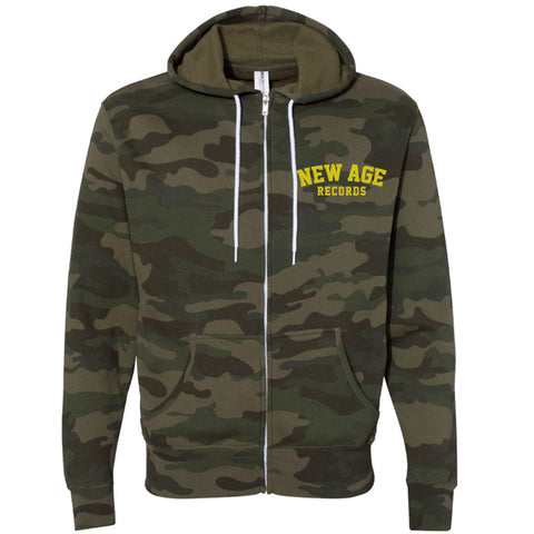 New Age Records Camo Zippered Hoodie