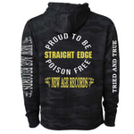 """Proud To Be Poison Free"" New Age Straight Edge Dark Camo Hoodie"