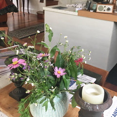 more Spring flowers for home in a large unique bowl